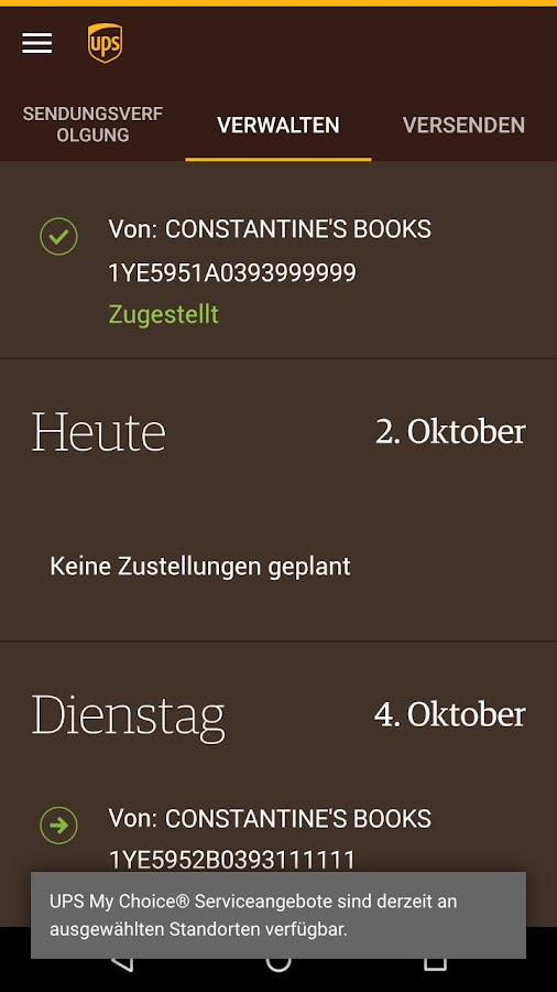 UPS Mobile – Screenshot