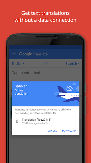 Screenshot 2 for Google Translate's Android app'