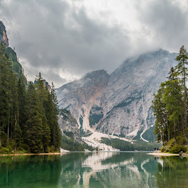 by Mario Horvat - Landscapes Mountains & Hills ( mountains, dolomites, reflection, lake, water, trees, lagodibraies, italy )