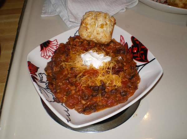 Add any usual chili toppings such as sour cream, cheese, green onions, etc. Would...