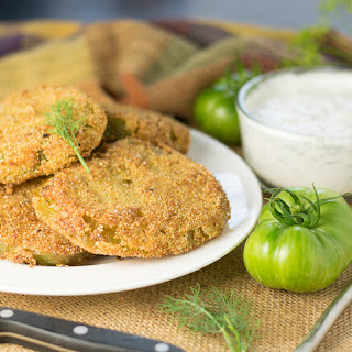Fried Green Tomatoes with Blue Cheese Dill Dipping Sauce.