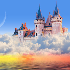Floating Island by Charlie Alolkoy - Illustration Places ( water, sky, cloud, ocean, castle )