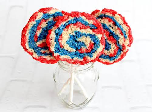 "Red White and Blue Rice Krispie Treat Pinwheels ""We were looking for..."