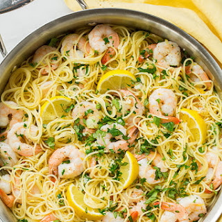 Lemon-Parmesan Angel Hair Pasta with Shrimp