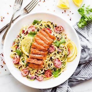 Cajun Smoked Salmon Zucchini Noodles Salad.