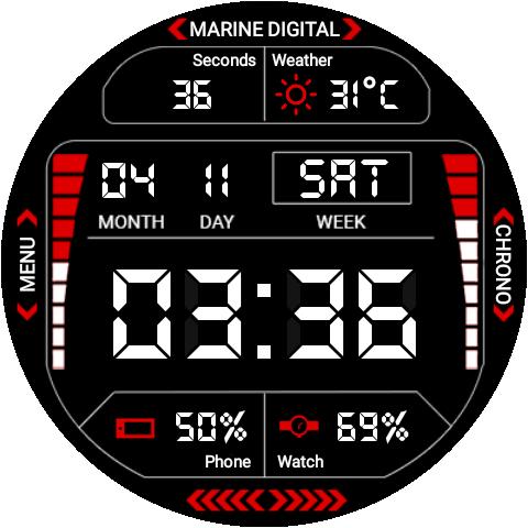 Marine Digital 2 Watch Face & Clock Live Wallpaper 1.07 screenshots 15