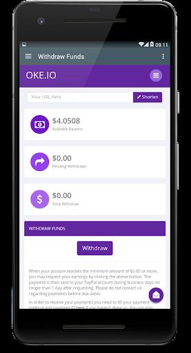 Oke.io - Shorten Urls and Earn Money! 1.0 screenshots 5