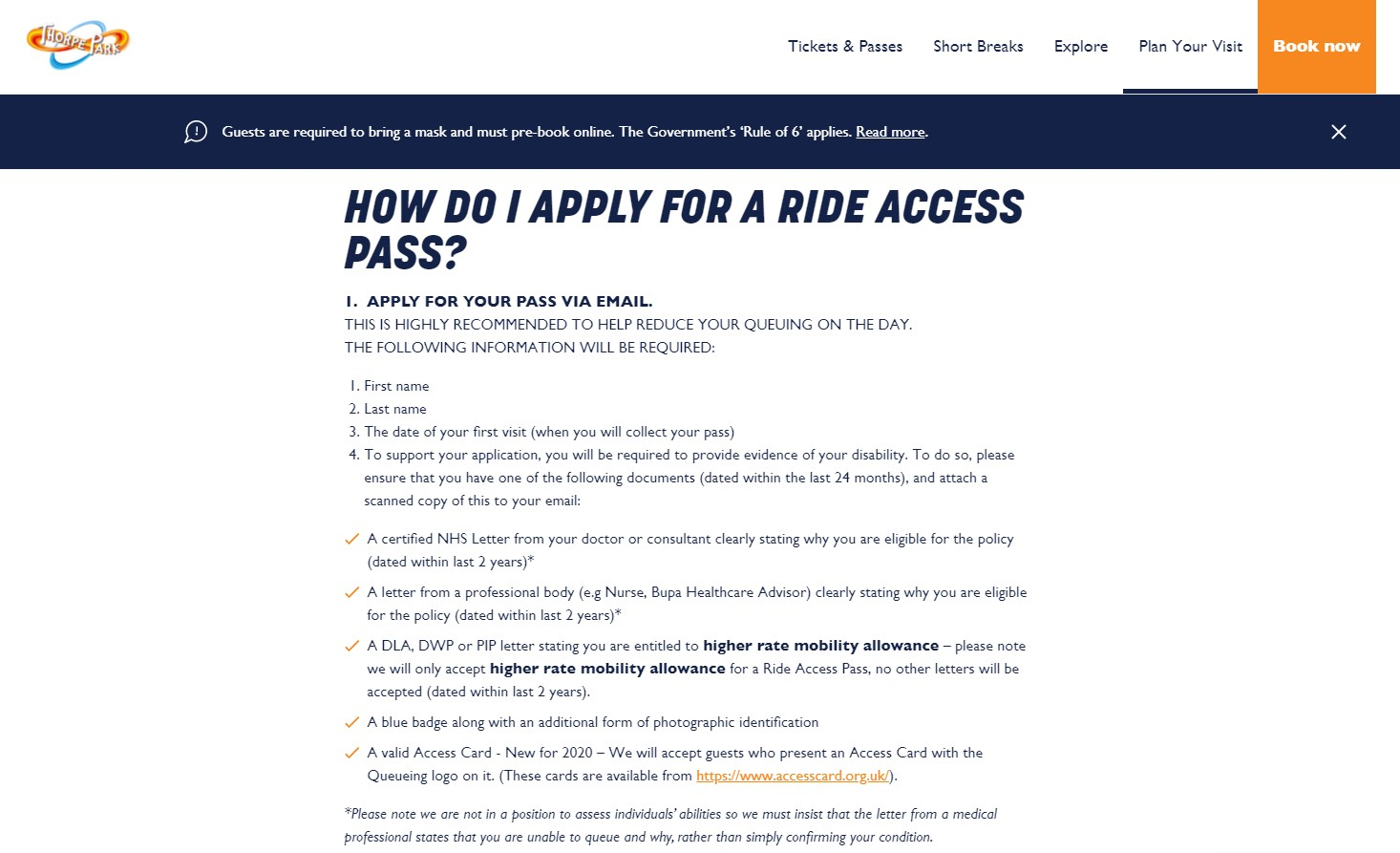 ride access pass application for thorpe park part 1