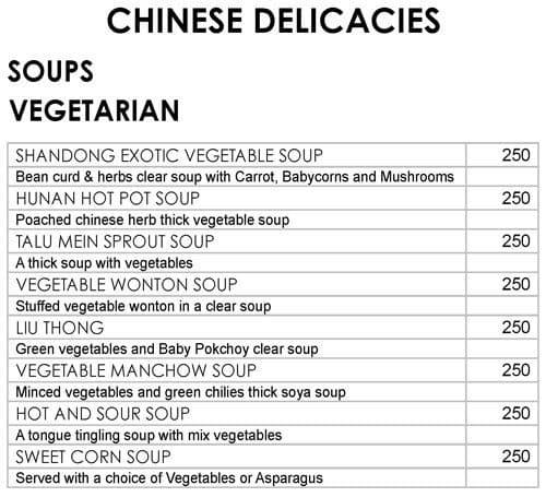 Oriental Bowl, Ramada Palmgrove menu 13