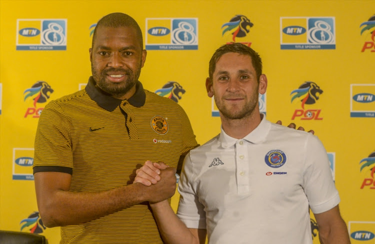 Captain Itumeleng Khune of Kaizer Chiefs with Captain Dean Furman of SuperSport United during the Kaizer Chiefs MTN 8 press conference at PSL Offices on August 10, 2017 in Johannesburg, South Africa.