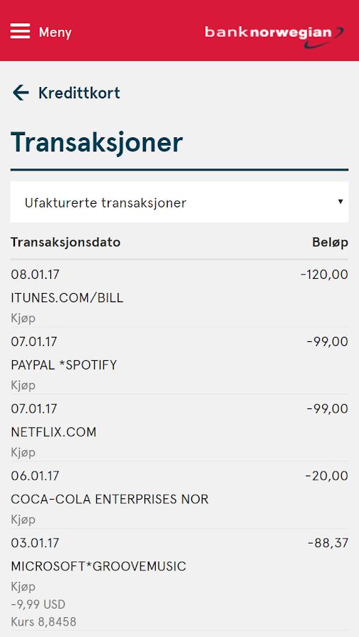 bank norwegian log in