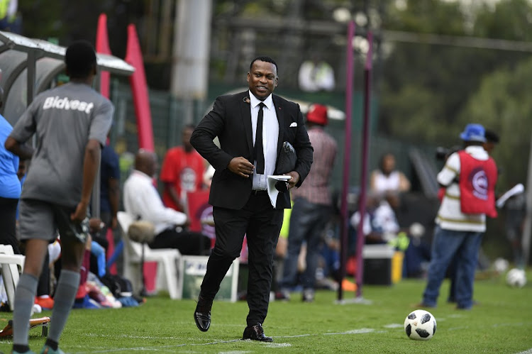 Robert Marawa during the Absa Premiership match between Bidvest Wits and Mamelodi Sundowns at Bidvest Stadium on February 23, 2019 in Johannesburg, South Africa.
