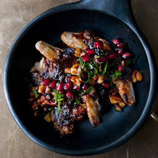 Quails With Burnt Miso Butterscotch And Pomegranate And Walnut Salsa.