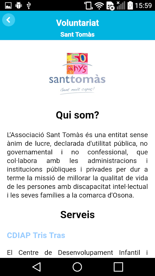 Voluntariat Sant Tomàs- screenshot