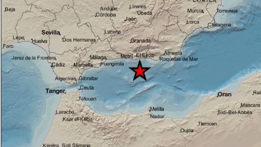 Mapa de la zona. en el que la estrella marca el epicentro del seísmo.