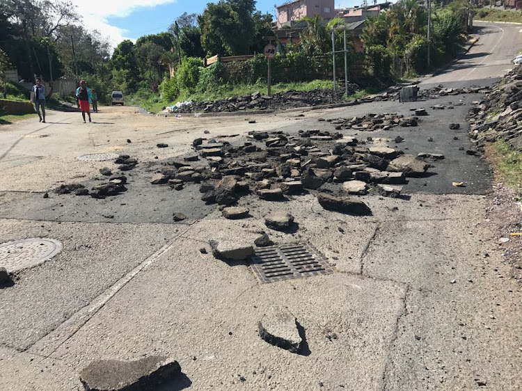 One of the roads that were damaged during a protest in Puntans Hill, Durban, on September 10 2018.