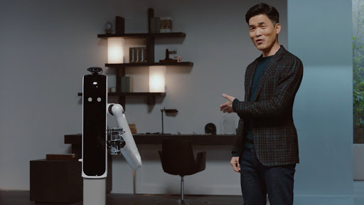 Sebastian Seung, president and head of Samsung Research, and Samsung's Bot Handy – the at-home robotic assistant.