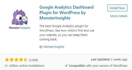 wordpress monsterinsights plugin