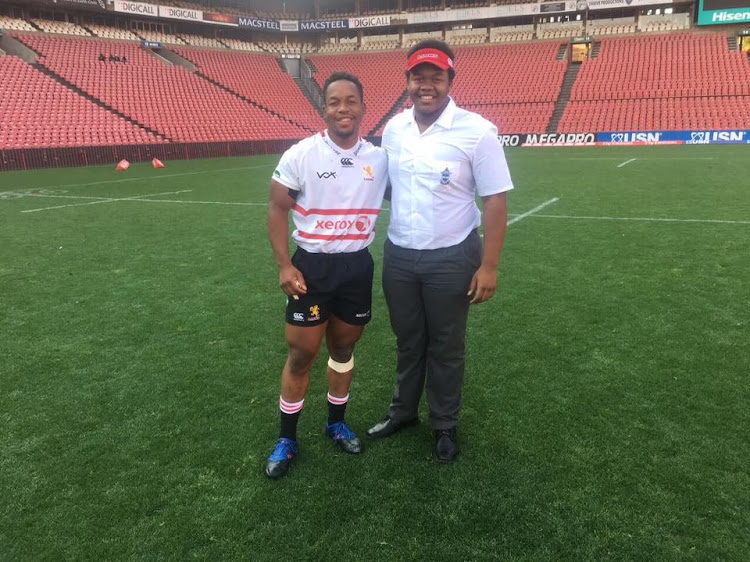 Zimbabwean-born prop Stephen Bhasera (L) poses for a photo inside Ellis Park on June 23 2018.