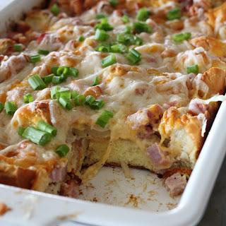 Ham and Melted Swiss Overnight Breakfast Casserole Recipe