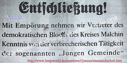 Photo: Junge Gemeinde der Evangelischen Kirche in der DDR
