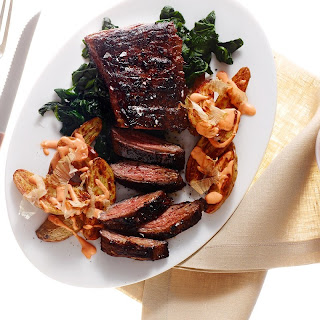 Quick-Marinated Skirt Steak with Sriracha Potatoes and Spinach Recipe | Epicurious.Com Recipe