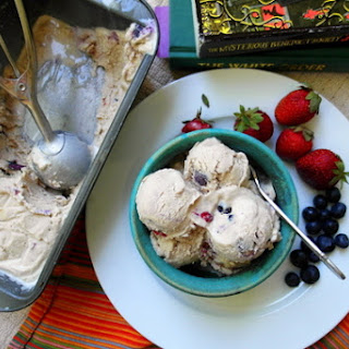 Brown Sugar Sour Cream Ice Cream with Roasted Summer Berries