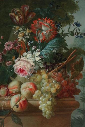 François-Nicolas Laurent Fleurs et Fruits sur un Entablement de Pierre