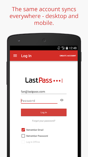 Screenshot 1 for LastPass's Android app'