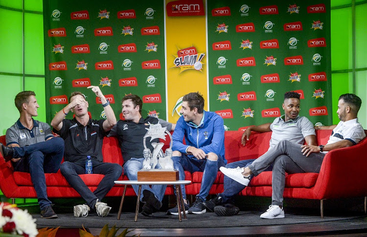 Players Dwaine Pretorius, Chris Morris, Jon-Jon Smuts, Duanne Olivier, Khaya Zondo and JP Duminy during the T20 Challenge Sponsorship Announcement at SuperSport Studios on November 07, 2017 in Johannesburg.