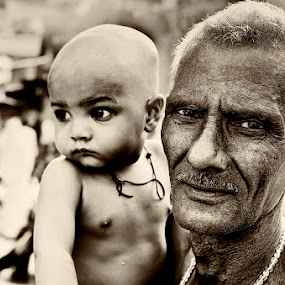 The Old and the New by Arup Acharjee - People Street & Candids ( black and white, family, old man, baby )