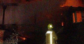 Firefighters battle blaze
