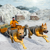 Snow Dog Sledding Transport 3D