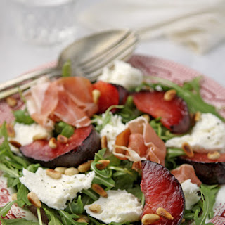 Plum, Serrano ham and mozzarella salad
