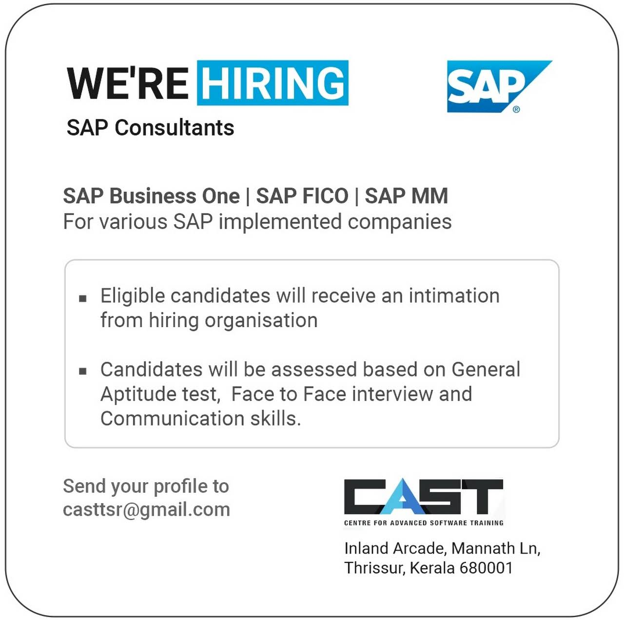 CAST - SAP TRAINING THRISSUR - Software Training Institute
