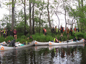 Photo: Det lynede og tordnede, så vi måtte gøre holdt på åen