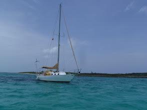 Photo: C'est la Vie anchored off Little Harbor Cay, Berry Islands