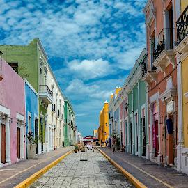 Colorful PathWay by Andrius La Rotta Esquivel - City,  Street & Park  Street Scenes ( amazing, san francisco de campeche, colorful, street views, street scenes, photography, street photography )