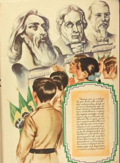 Na imagem, um grupo de crianças, olha estátuas, dentre elas a de Tiradentes.