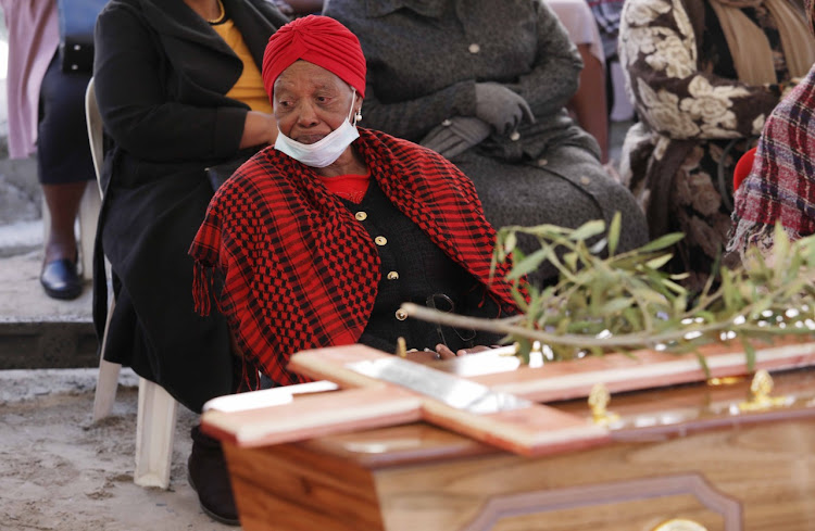 Mavis Gabada at the funeral of her granddaughter, Sibongiseni, on June 17 2020.
