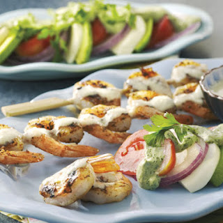 Key Lime Grilled Shrimp and Avocado Salad With Cilantro Crema