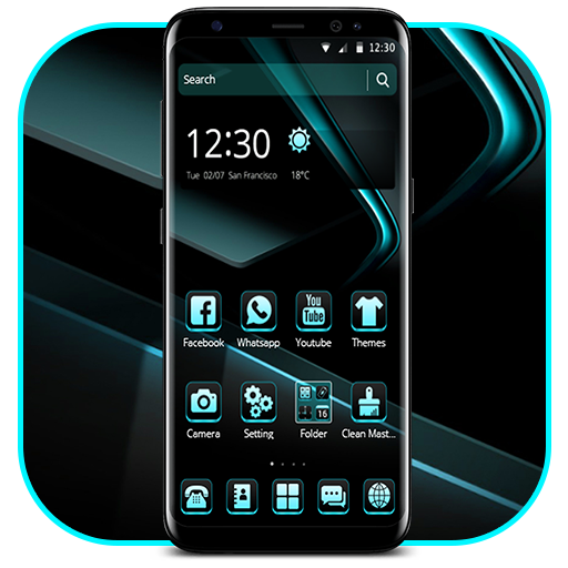 Black Cyan Simple Theme