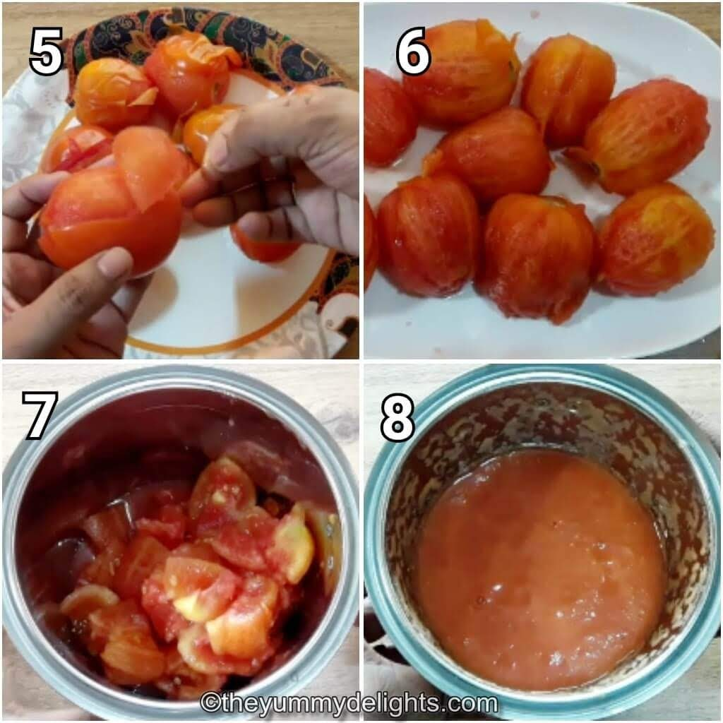 step by step collage of grinding the tomatoes for making pasta arrabbiata sauce