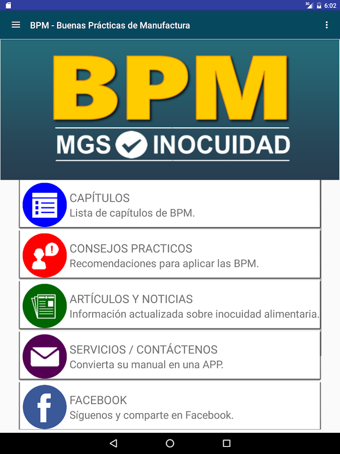 Bpm alimentos android apps on google play for Manual de buenas practicas de manufactura en alimentos