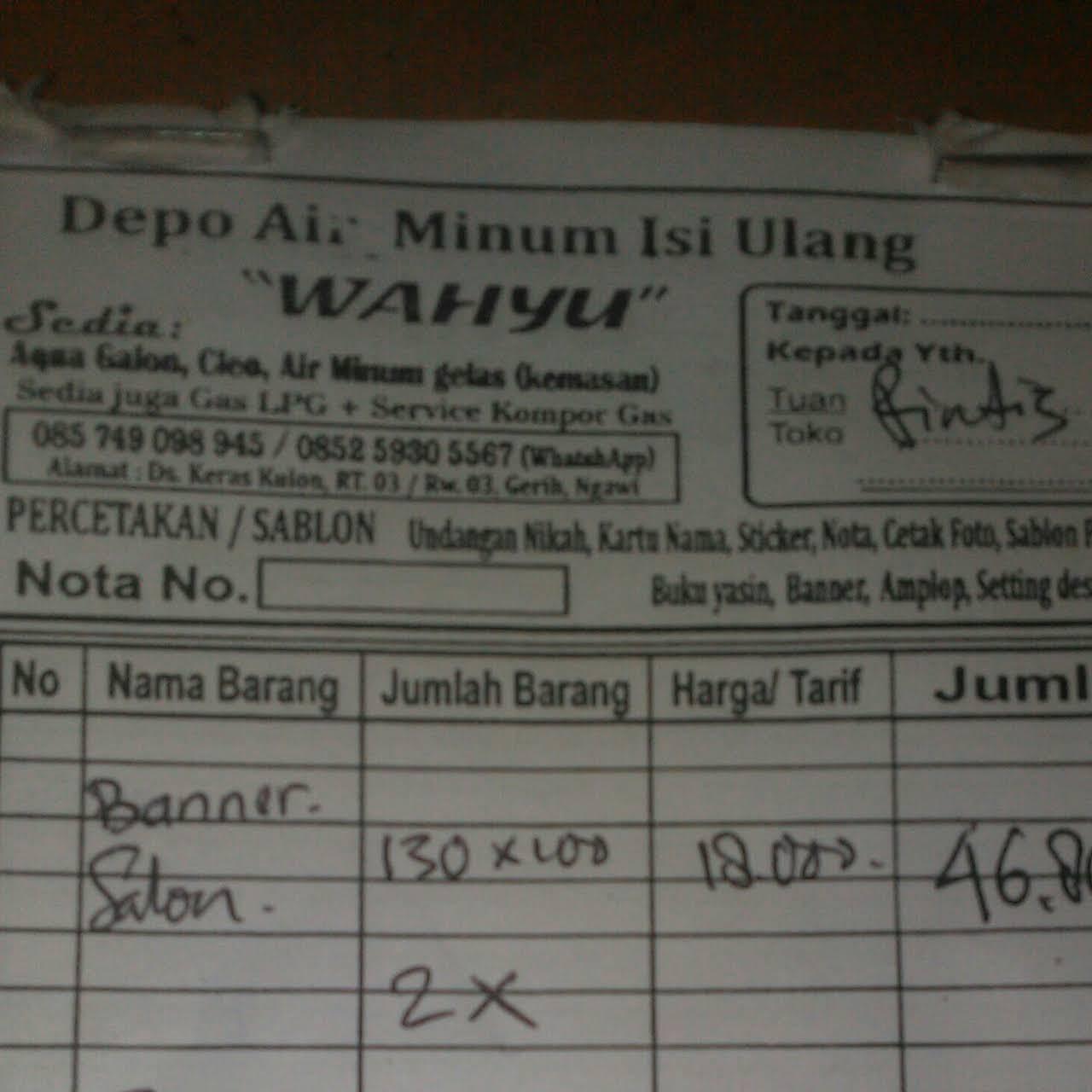 Depot Air Minum Isi Ulang Wahyu Keraskulon Bottled Water