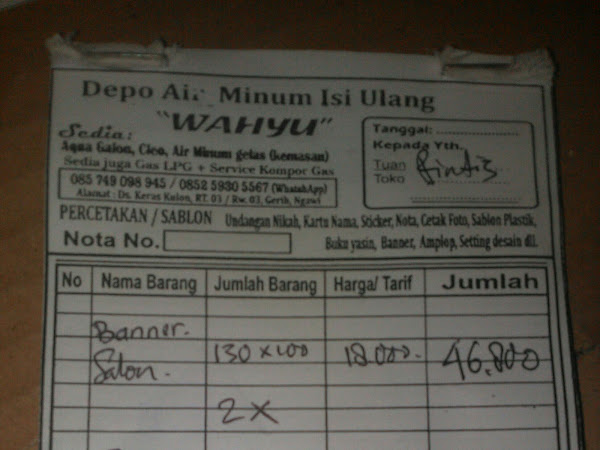 Depot Air Minum Isi Ulang Wahyu Keraskulon