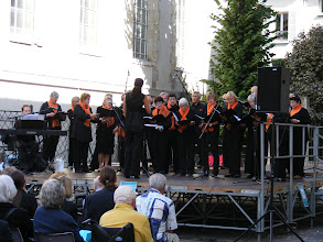 Photo: It's a short hop on the RER A to St Germain-en-Laye, where my wandering plans are detoured by the sound of singing close by, in a little courtyard off the Rue de la Salle. I have by good fortune stumbled on to the start of the 7th Choers en Fete, and the opening group, L'Ensemble Vocal du Pincerais, who makes this town their home. As I sit quietly and listen, the moment (always welcome, never assured, and completely unpredictable) arrives: I have in this moment of my journey fully landed in France, and it surrounds and overwhelms me in a manner beyond description. Such fleeting seconds of the pure, unfiltered joy of being completely in the present moment cannot be extended, or repeated in exactly the same way, but are always the most memorable moments of my travels.