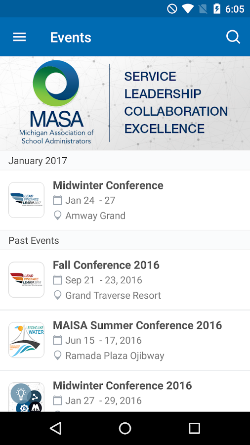 MASA Events- screenshot