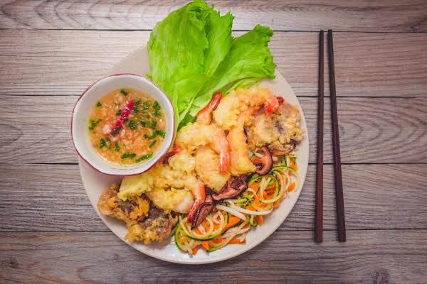 Lettuce Wraps Shrimp And Shiitake Mushroom Tempura With Fish Sauce
