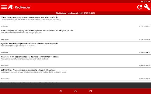 Reg Reader (news app for The Register mobile site) - náhled